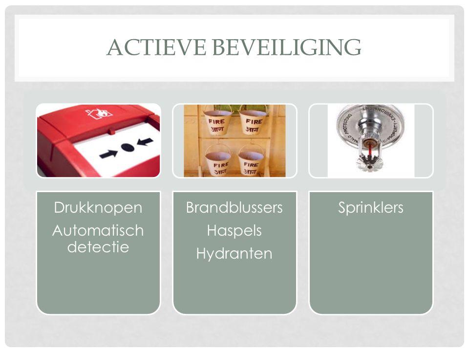 ACTIEVE BEVEILIGING Drukknopen Automatisch detectie Brandblussers Haspels Hydranten Sprinklers