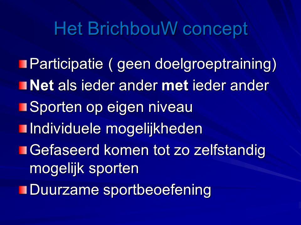Het BrichbouW concept Participatie ( geen doelgroeptraining) Net als ieder ander met ieder ander Sporten op eigen niveau Individuele mogelijkheden Gefaseerd komen tot zo zelfstandig mogelijk sporten Duurzame sportbeoefening