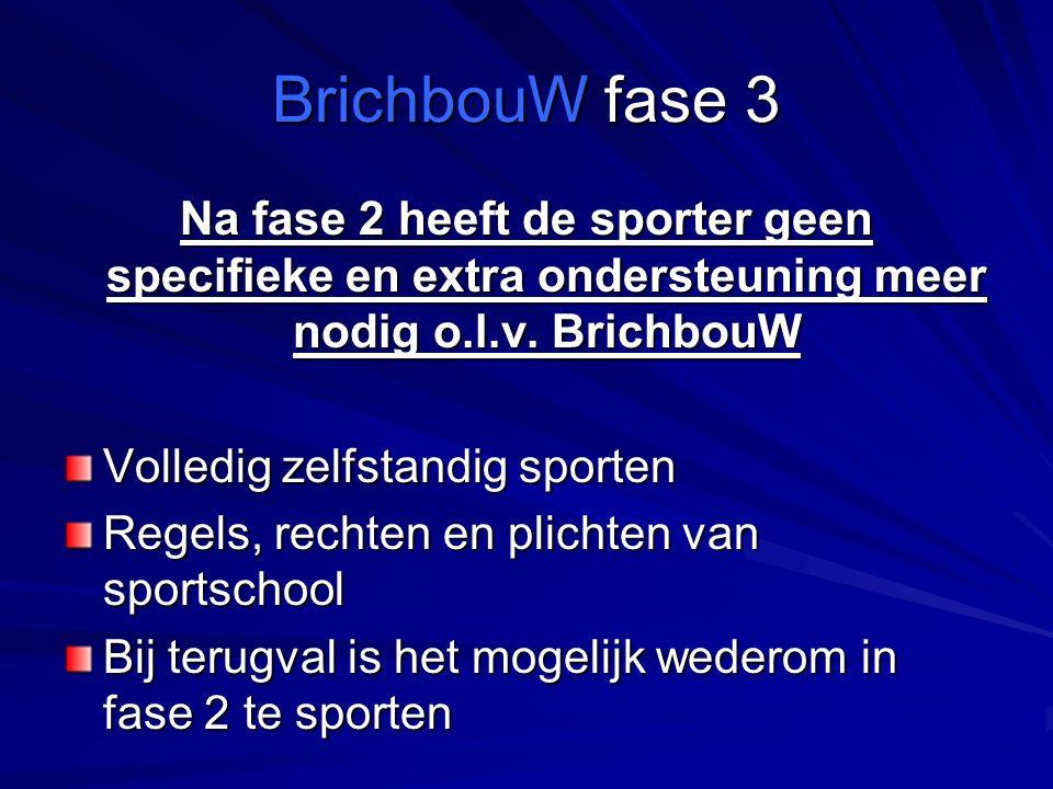 BrichbouW fase 3 Na fase 2 heeft de sporter geen specifieke en extra ondersteuning meer nodig o.l.v.