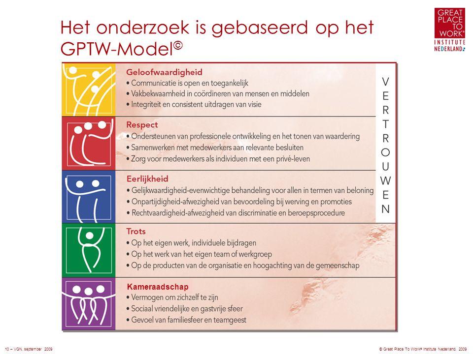 Het onderzoek is gebaseerd op het GPTW-Model © Kameraadschap © Great Place To Work ® Institute Nederland, 200910 – VGN, september 2009