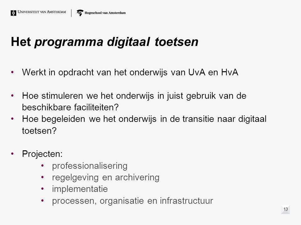 Het programma digitaal toetsen Werkt in opdracht van het onderwijs van UvA en HvA Hoe stimuleren we het onderwijs in juist gebruik van de beschikbare faciliteiten.