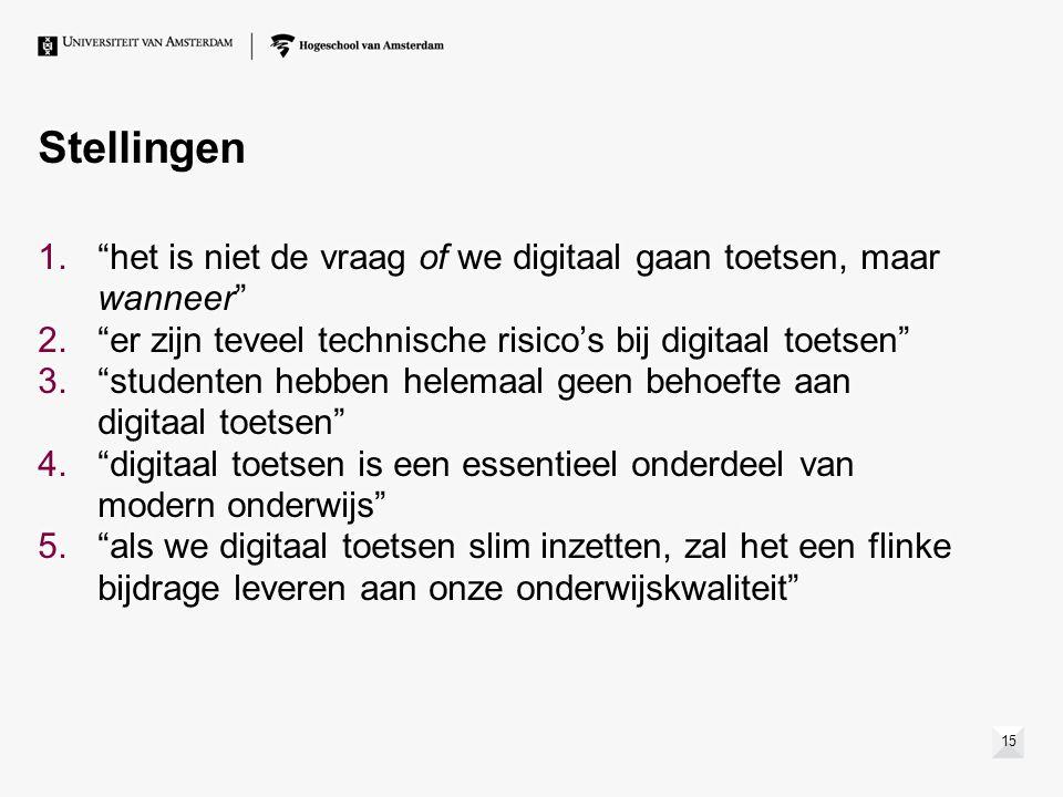Stellingen 15 1. het is niet de vraag of we digitaal gaan toetsen, maar wanneer 2. er zijn teveel technische risico's bij digitaal toetsen 3. studenten hebben helemaal geen behoefte aan digitaal toetsen 4. digitaal toetsen is een essentieel onderdeel van modern onderwijs 5. als we digitaal toetsen slim inzetten, zal het een flinke bijdrage leveren aan onze onderwijskwaliteit 1. het is niet de vraag of we digitaal gaan toetsen, maar wanneer 2. er zijn teveel technische risico's bij digitaal toetsen 3. studenten hebben helemaal geen behoefte aan digitaal toetsen 4. digitaal toetsen is een essentieel onderdeel van modern onderwijs 5. als we digitaal toetsen slim inzetten, zal het een flinke bijdrage leveren aan onze onderwijskwaliteit