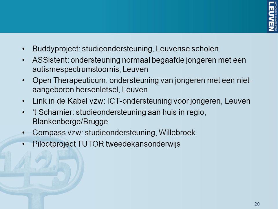 20 Buddyproject: studieondersteuning, Leuvense scholen ASSistent: ondersteuning normaal begaafde jongeren met een autismespectrumstoornis, Leuven Open