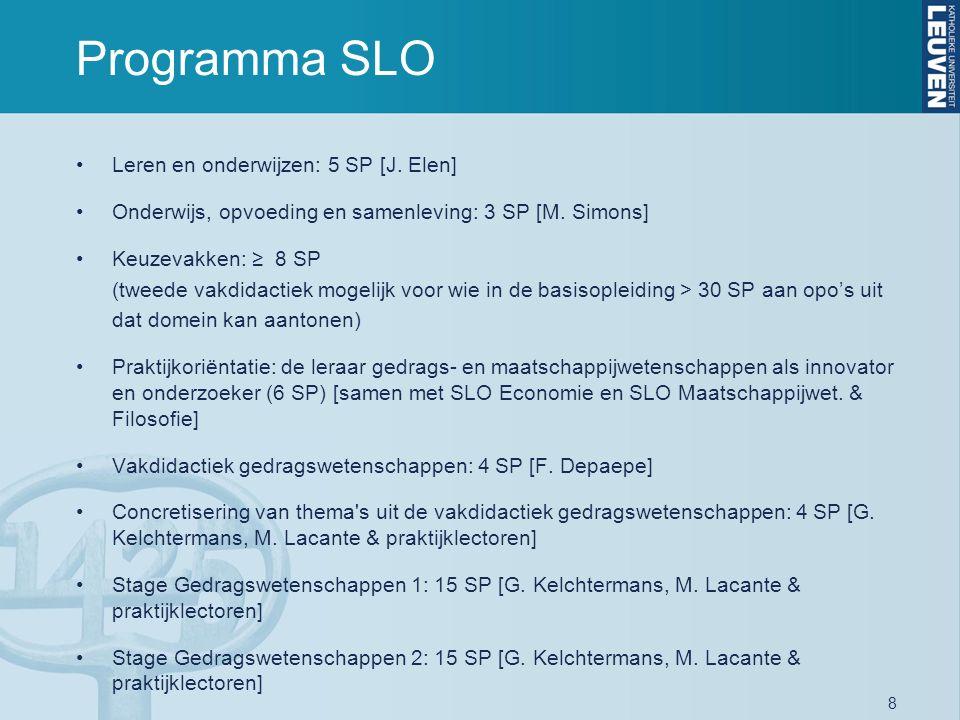 8 Programma SLO Leren en onderwijzen: 5 SP [J. Elen] Onderwijs, opvoeding en samenleving: 3 SP [M. Simons] Keuzevakken: ≥ 8 SP (tweede vakdidactiek mo