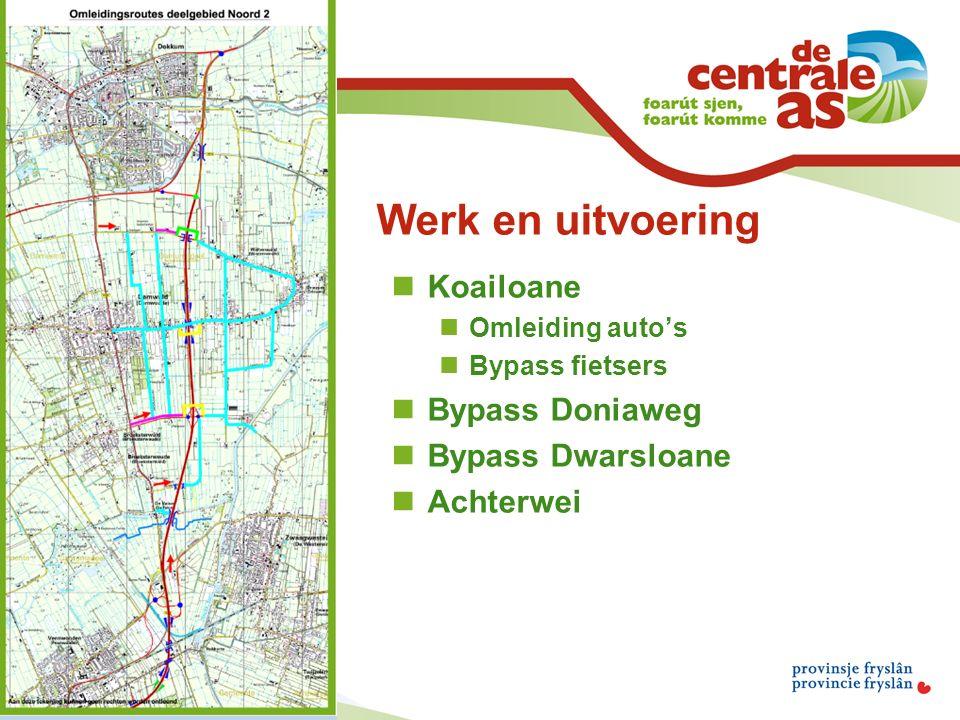 Werk en uitvoering Koailoane Omleiding auto's Bypass fietsers Bypass Doniaweg Bypass Dwarsloane Achterwei