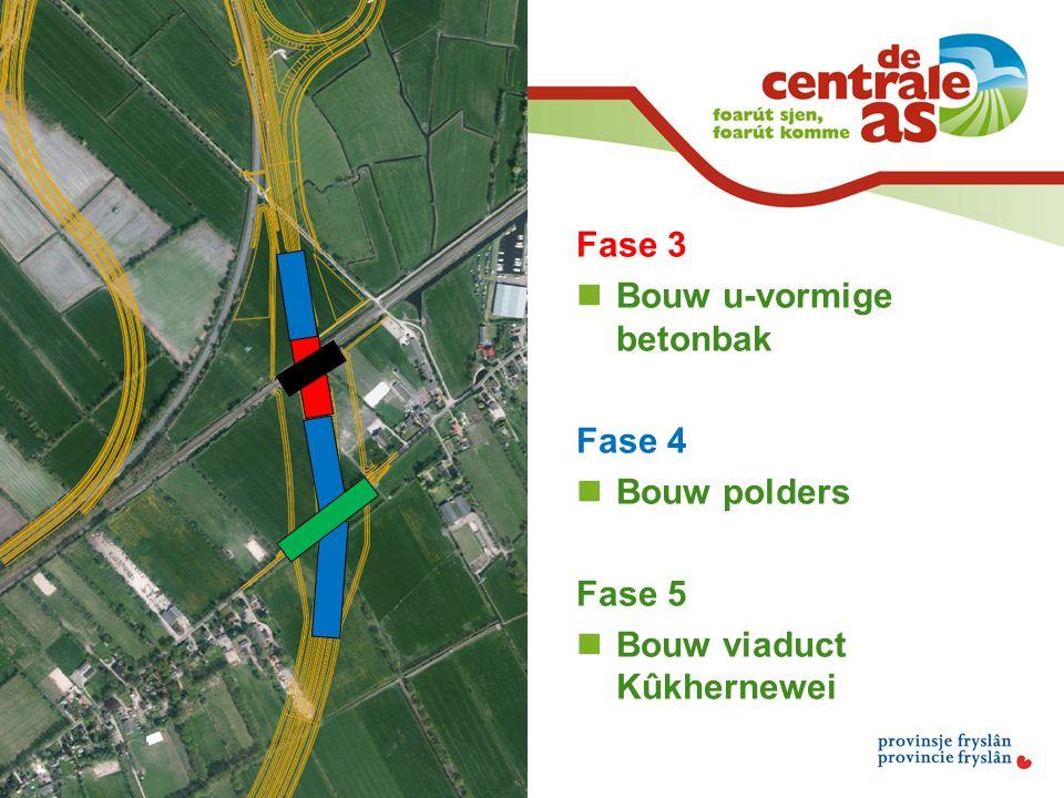 Fase 3 Bouw u-vormige betonbak Fase 4 Bouw polders Fase 5 Bouw viaduct Kûkhernewei