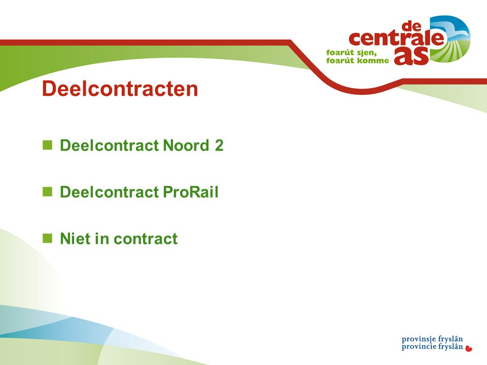 Deelcontracten Deelcontract Noord 2 Deelcontract ProRail Niet in contract