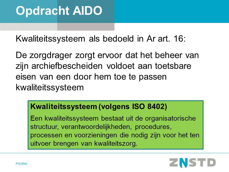 PAGINA Opdracht AIDO Kwaliteitssysteem als bedoeld in Ar art.