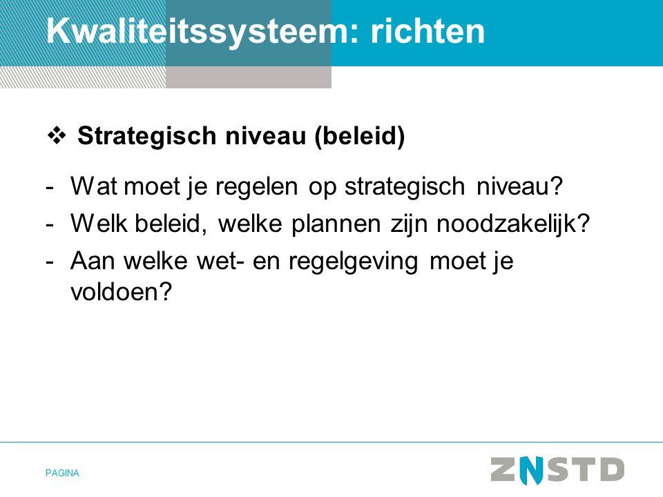 PAGINA Kwaliteitssysteem: richten  Strategisch niveau (beleid) -Wat moet je regelen op strategisch niveau.