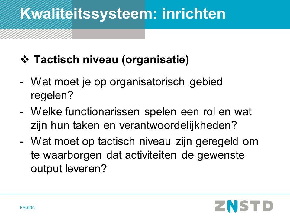 PAGINA Kwaliteitssysteem: inrichten  Tactisch niveau (organisatie) -Wat moet je op organisatorisch gebied regelen.