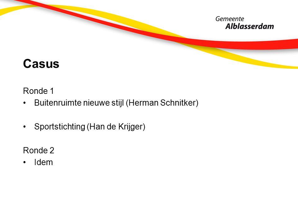 Casus Ronde 1 Buitenruimte nieuwe stijl (Herman Schnitker) Sportstichting (Han de Krijger) Ronde 2 Idem