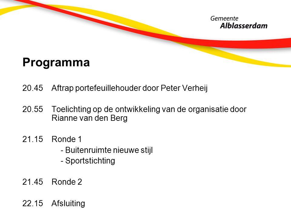 Programma 20.45Aftrap portefeuillehouder door Peter Verheij 20.55Toelichting op de ontwikkeling van de organisatie door Rianne van den Berg 21.15Ronde 1 - Buitenruimte nieuwe stijl - Sportstichting 21.45Ronde 2 22.15Afsluiting