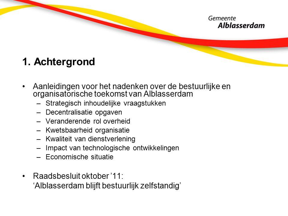 1. Achtergrond Aanleidingen voor het nadenken over de bestuurlijke en organisatorische toekomst van Alblasserdam –Strategisch inhoudelijke vraagstukke