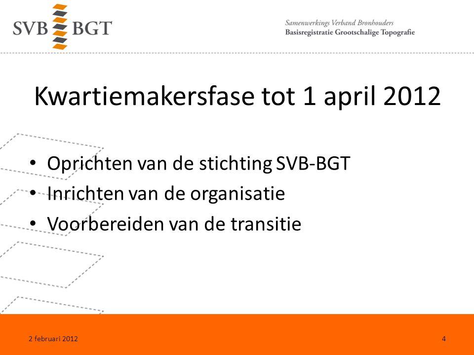 Kwartiemakersfase tot 1 april 2012 Oprichten van de stichting SVB-BGT Inrichten van de organisatie Voorbereiden van de transitie 2 februari 20124