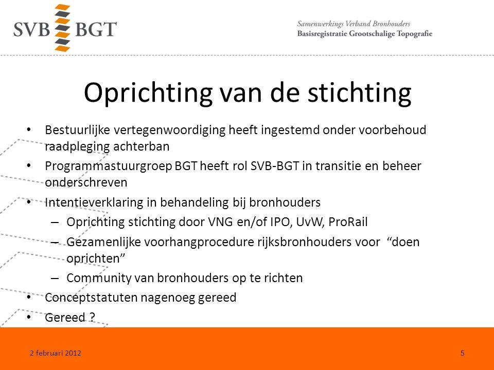 Inrichting van de organisatie Producten en diensten Functies Applicaties en ICT Financiën Huisvesting Website en logo: www.svb-bgt.nl 2 februari 20126