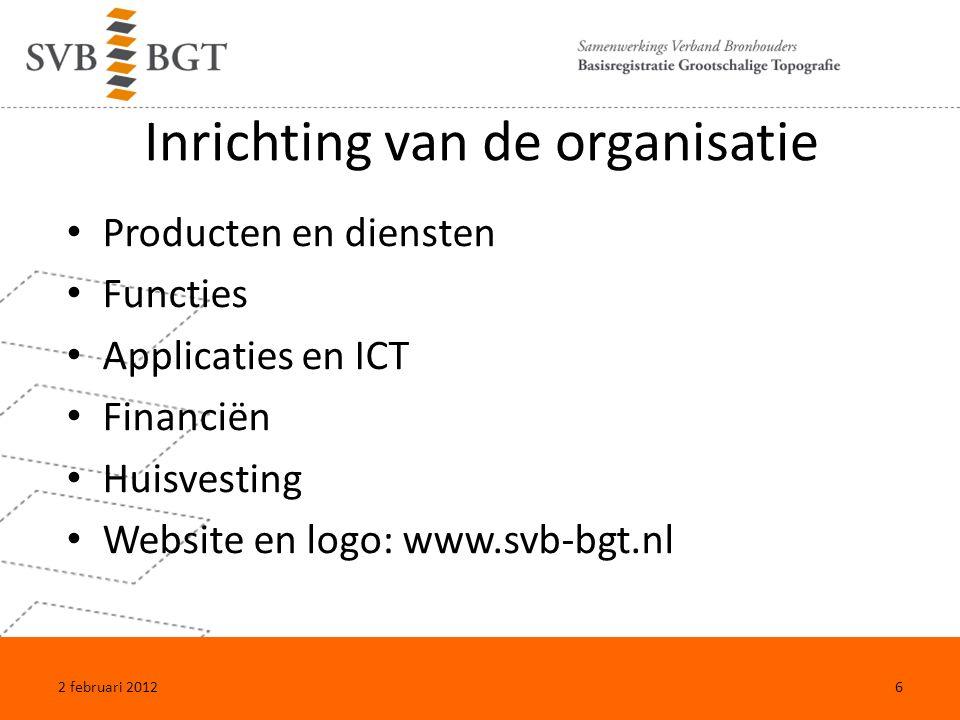 Voorbereiden van de transitie Zwaluwstaarten met GBKN Inspelen op initiatieven bronhouders Invullen regie-functie SVB-BGT 2 februari 20127