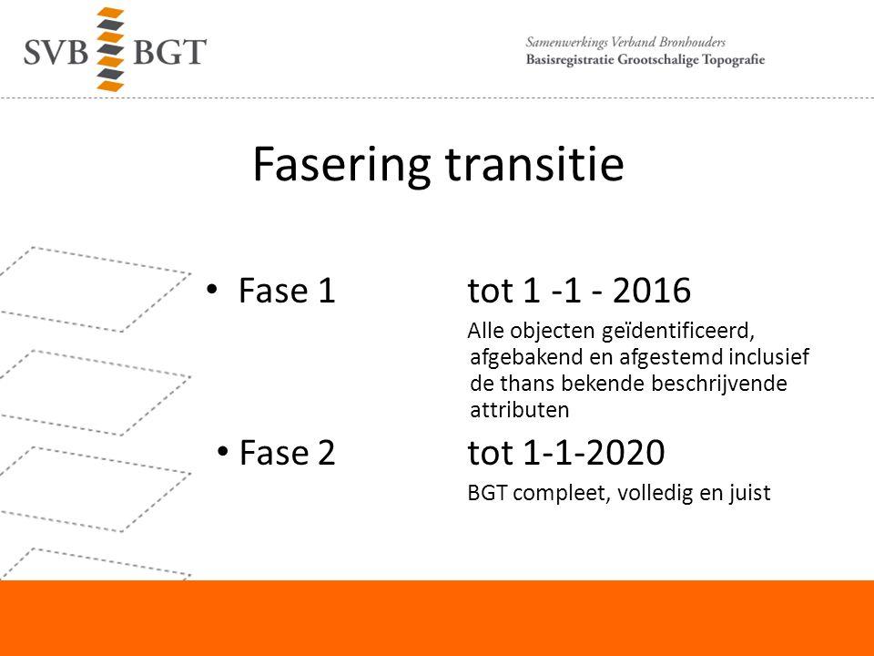 Fasering transitie Fase 1tot 1 -1 - 2016 Alle objecten geïdentificeerd, afgebakend en afgestemd inclusief de thans bekende beschrijvende attributen Fase 2tot 1-1-2020 BGT compleet, volledig en juist
