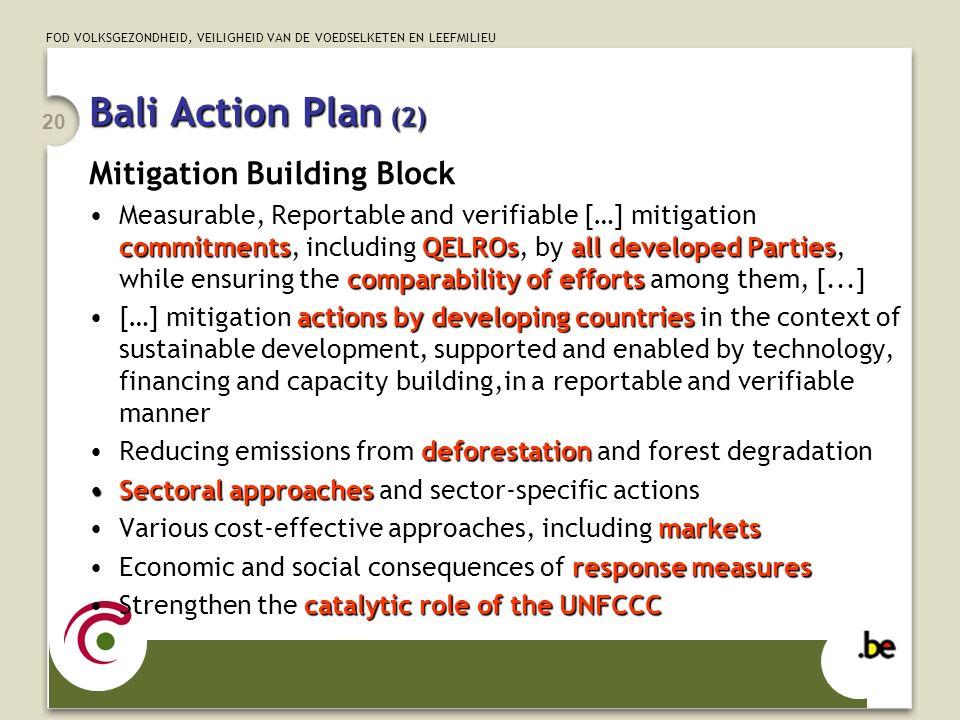 FOD VOLKSGEZONDHEID, VEILIGHEID VAN DE VOEDSELKETEN EN LEEFMILIEU 20 Bali Action Plan (2) Mitigation Building Block commitmentsQELROsall developed Par