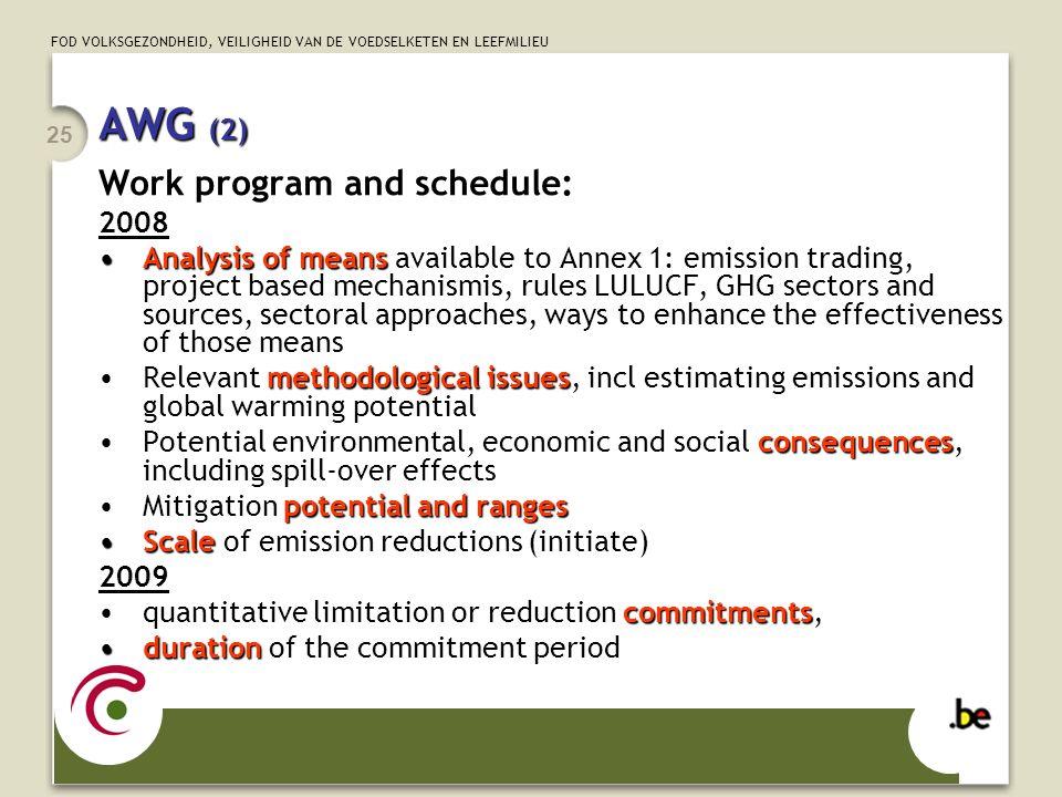 FOD VOLKSGEZONDHEID, VEILIGHEID VAN DE VOEDSELKETEN EN LEEFMILIEU 25 AWG (2) Work program and schedule: 2008 Analysis of meansAnalysis of means availa