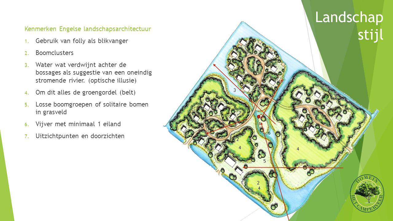 Kenmerken Engelse landschapsarchitectuur 1. Gebruik van folly als blikvanger 2. Boomclusters 3. Water wat verdwijnt achter de bossages als suggestie v
