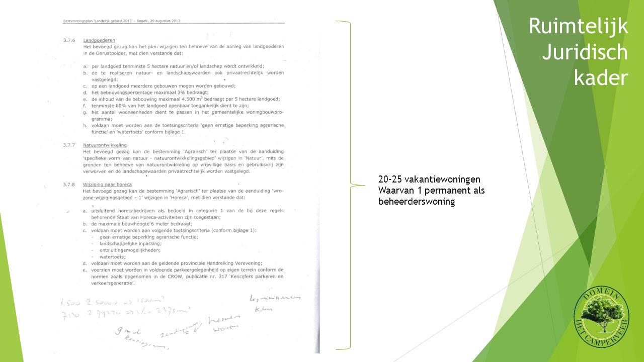 Ruimtelijk Juridisch kader 20-25 vakantiewoningen Waarvan 1 permanent als beheerderswoning