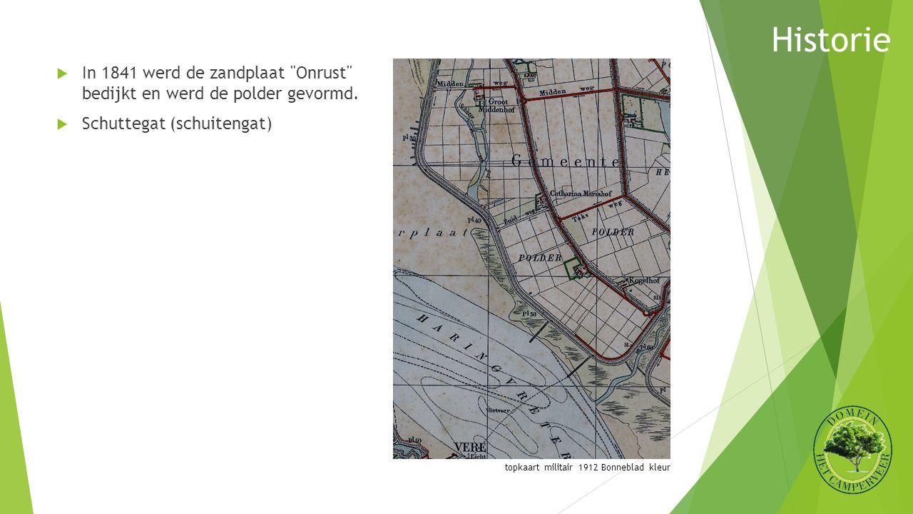 topkaart militair 1912 Bonneblad kleur  In 1841 werd de zandplaat Onrust bedijkt en werd de polder gevormd.
