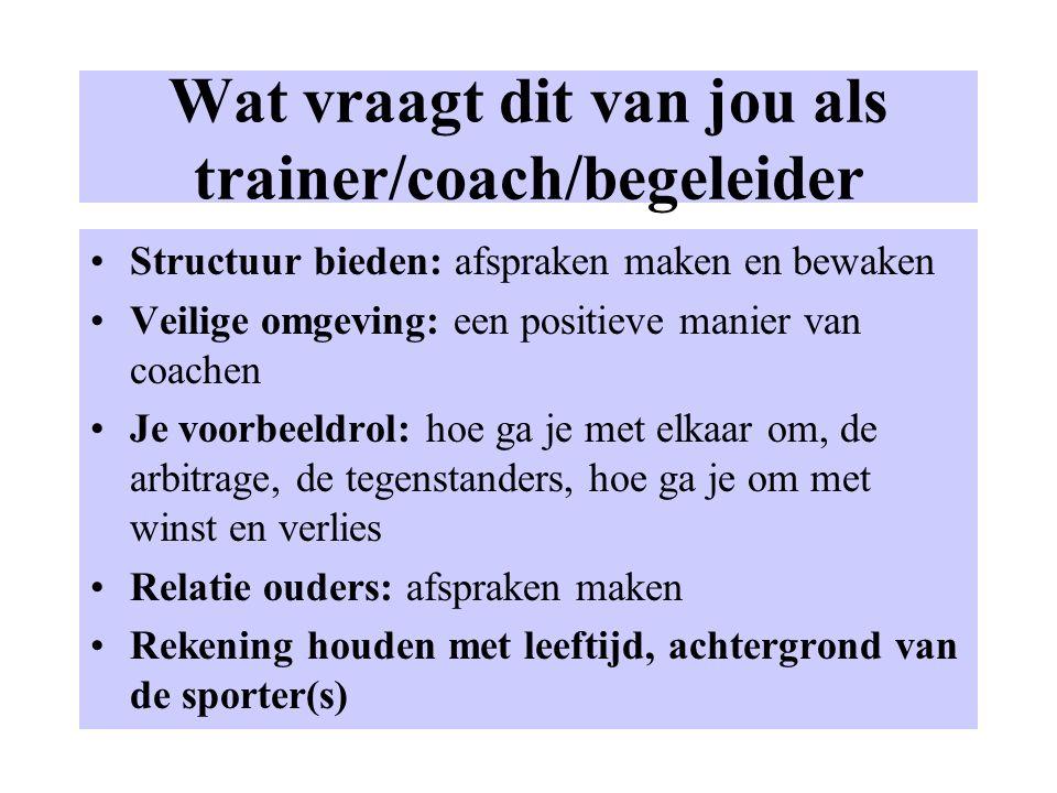 Wat vraagt dit van jou als trainer/coach/begeleider Structuur bieden: afspraken maken en bewaken Veilige omgeving: een positieve manier van coachen Je