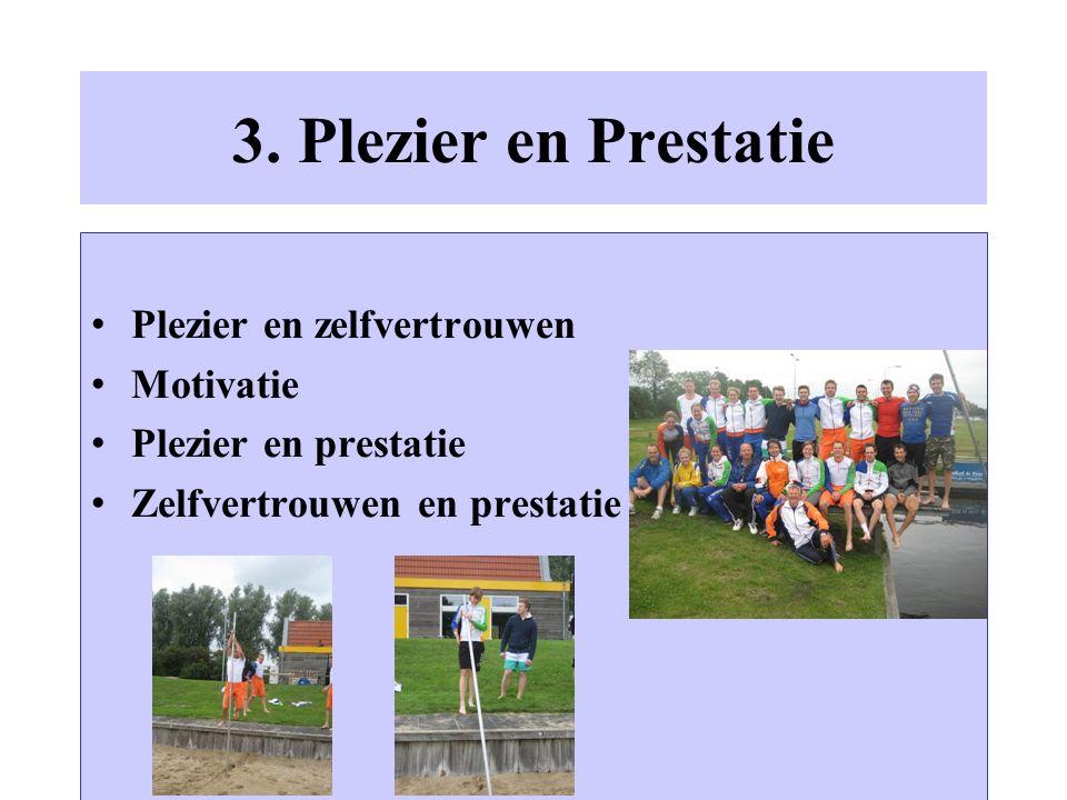 3. Plezier en Prestatie Plezier en zelfvertrouwen Motivatie Plezier en prestatie Zelfvertrouwen en prestatie