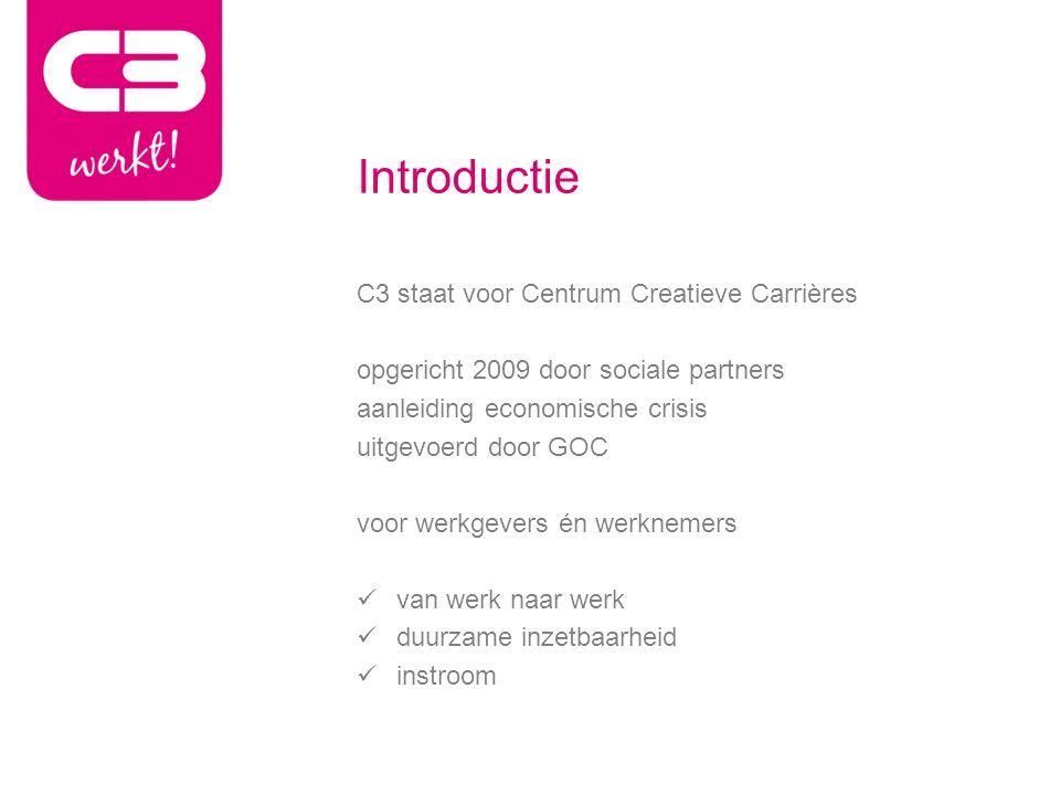 Introductie C3 staat voor Centrum Creatieve Carrières opgericht 2009 door sociale partners aanleiding economische crisis uitgevoerd door GOC voor werkgevers én werknemers van werk naar werk duurzame inzetbaarheid instroom