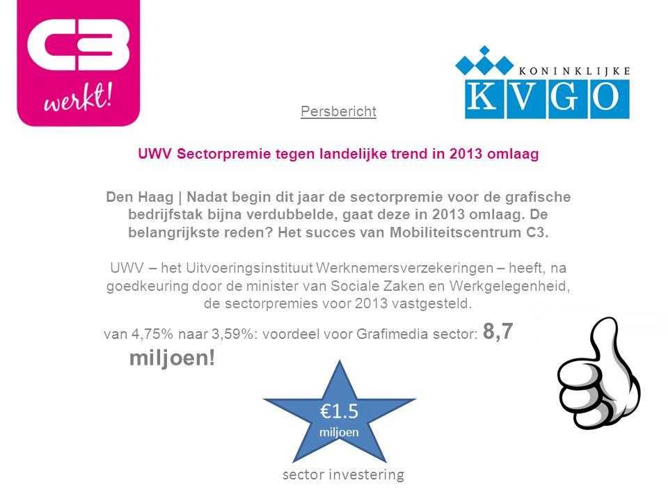 Persbericht UWV Sectorpremie tegen landelijke trend in 2013 omlaag Den Haag | Nadat begin dit jaar de sectorpremie voor de grafische bedrijfstak bijna verdubbelde, gaat deze in 2013 omlaag.