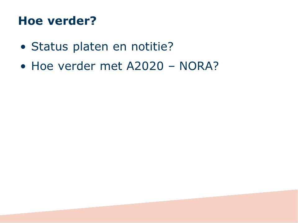 Hoe verder Status platen en notitie Hoe verder met A2020 – NORA