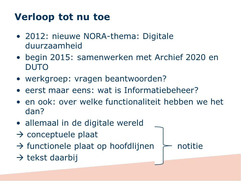 Verloop tot nu toe 2012: nieuwe NORA-thema: Digitale duurzaamheid begin 2015: samenwerken met Archief 2020 en DUTO werkgroep: vragen beantwoorden.