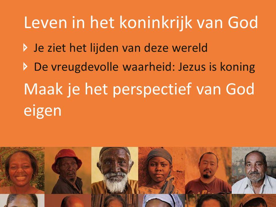 Leven in het koninkrijk van God Je ziet het lijden van deze wereld De vreugdevolle waarheid: Jezus is koning Maak je het perspectief van God eigen
