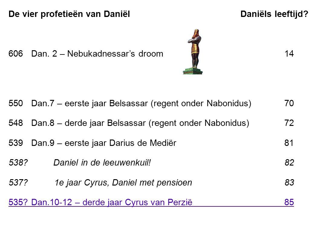 De vier profetieën van Daniël Daniëls leeftijd? 606Dan. 2 – Nebukadnessar's droom14 550Dan.7 – eerste jaar Belsassar (regent onder Nabonidus)70 548Dan