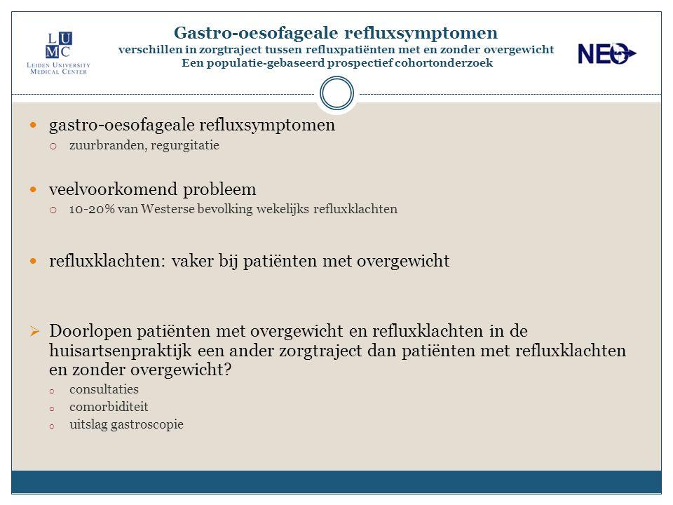 Gastro-oesofageale refluxsymptomen verschillen in zorgtraject tussen refluxpatiënten met en zonder overgewicht Een populatie-gebaseerd prospectief coh