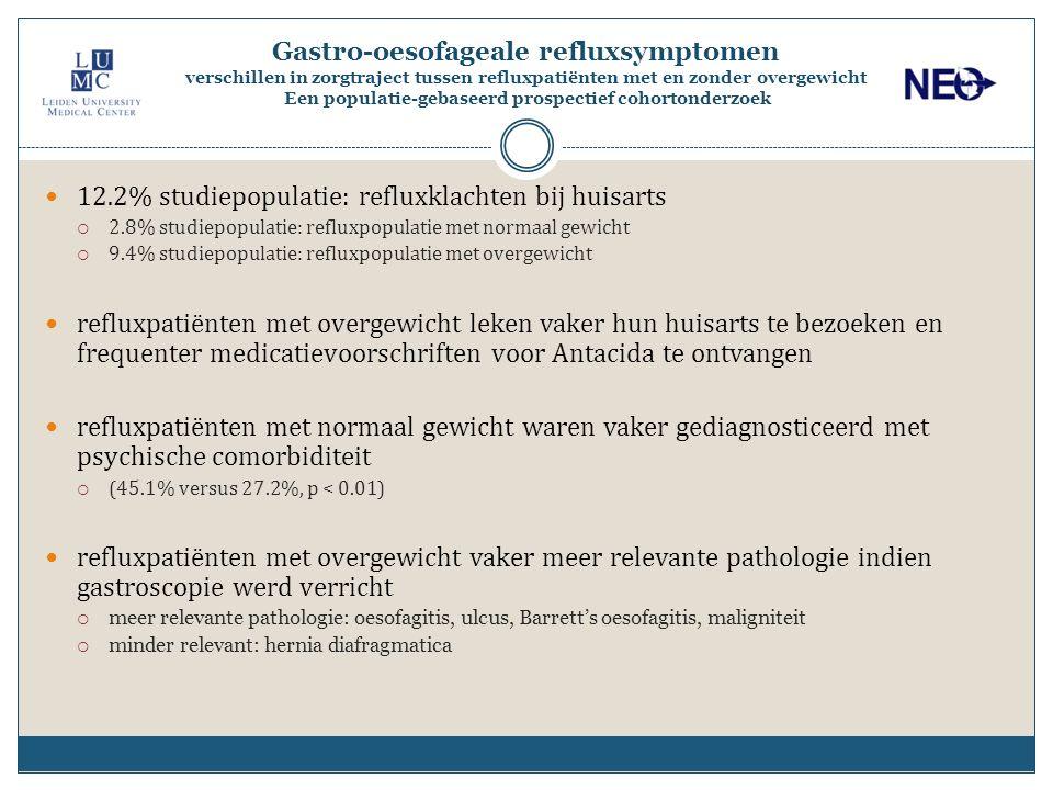 12.2% studiepopulatie: refluxklachten bij huisarts  2.8% studiepopulatie: refluxpopulatie met normaal gewicht  9.4% studiepopulatie: refluxpopulatie met overgewicht refluxpatiënten met overgewicht leken vaker hun huisarts te bezoeken en frequenter medicatievoorschriften voor Antacida te ontvangen refluxpatiënten met normaal gewicht waren vaker gediagnosticeerd met psychische comorbiditeit  (45.1% versus 27.2%, p < 0.01) refluxpatiënten met overgewicht vaker meer relevante pathologie indien gastroscopie werd verricht  meer relevante pathologie: oesofagitis, ulcus, Barrett's oesofagitis, maligniteit  minder relevant: hernia diafragmatica Gastro-oesofageale refluxsymptomen verschillen in zorgtraject tussen refluxpatiënten met en zonder overgewicht Een populatie-gebaseerd prospectief cohortonderzoek