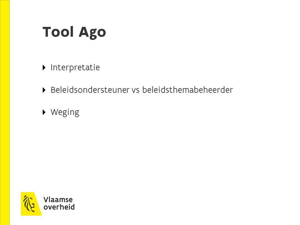 Tool Ago Interpretatie Beleidsondersteuner vs beleidsthemabeheerder Weging