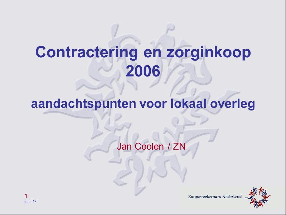 1 juni '16 Contractering en zorginkoop 2006 aandachtspunten voor lokaal overleg Jan Coolen / ZN