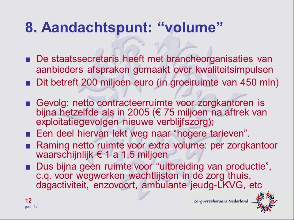 """12 juni '16 8. Aandachtspunt: """"volume"""" ■ De staatssecretaris heeft met brancheorganisaties van aanbieders afspraken gemaakt over kwaliteitsimpulsen ■"""