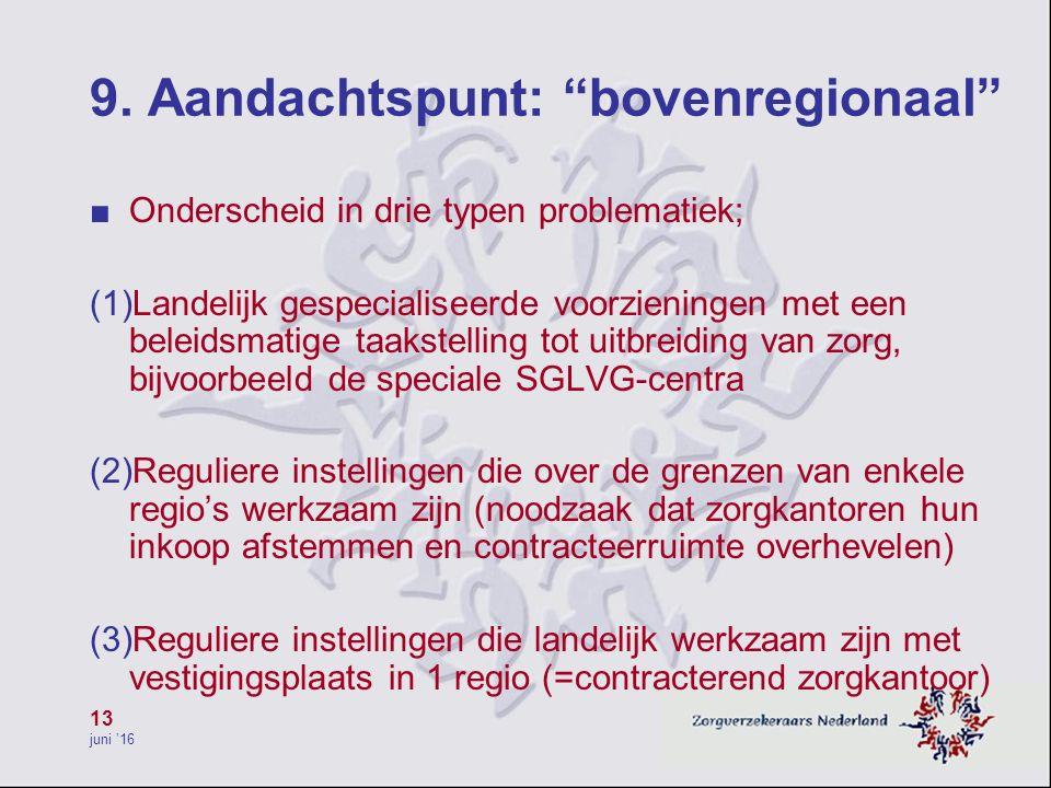 """13 juni '16 9. Aandachtspunt: """"bovenregionaal"""" ■ Onderscheid in drie typen problematiek; (1)Landelijk gespecialiseerde voorzieningen met een beleidsma"""