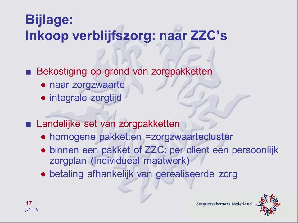 17 juni '16 Bijlage: Inkoop verblijfszorg: naar ZZC's ■ Bekostiging op grond van zorgpakketten ● naar zorgzwaarte ● integrale zorgtijd ■ Landelijke se