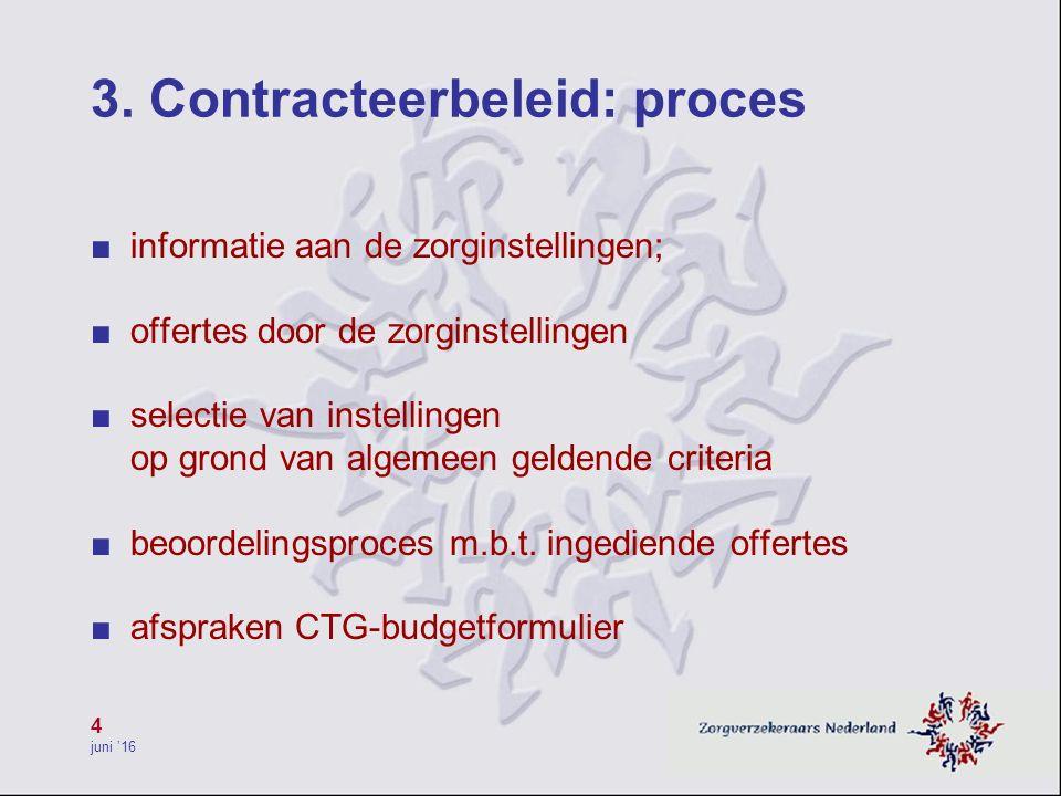 4 juni '16 3. Contracteerbeleid: proces ■ informatie aan de zorginstellingen; ■ offertes door de zorginstellingen ■ selectie van instellingen op grond