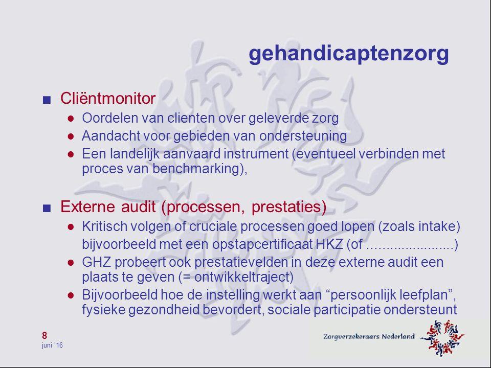 8 juni '16 gehandicaptenzorg ■ Cliëntmonitor ● Oordelen van clienten over geleverde zorg ● Aandacht voor gebieden van ondersteuning ● Een landelijk aa