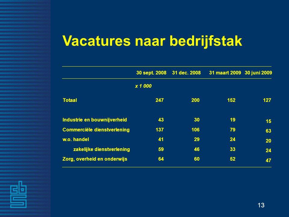 13 Vacatures naar bedrijfstak 30 sept. 200831 dec.