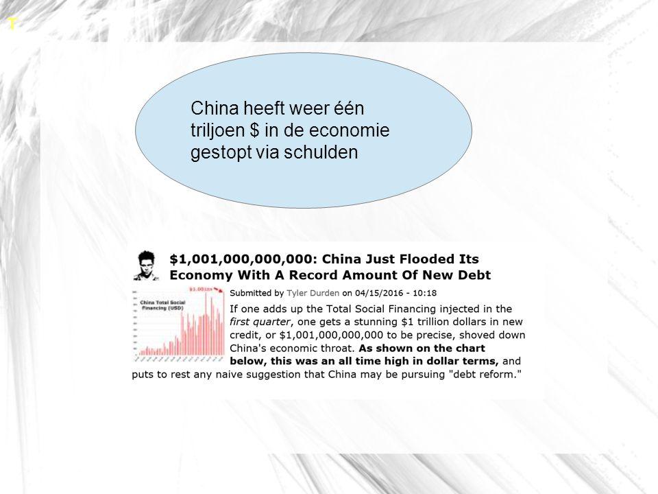 T China heeft weer één triljoen $ in de economie gestopt via schulden