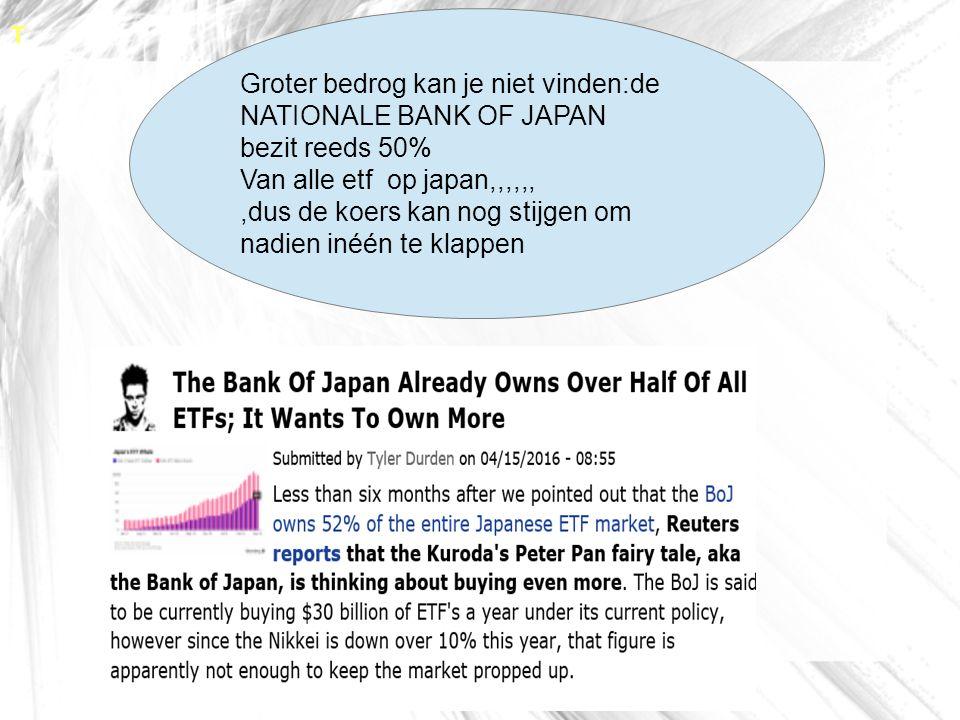 T Groter bedrog kan je niet vinden:de NATIONALE BANK OF JAPAN bezit reeds 50% Van alle etf op japan,,,,,,,dus de koers kan nog stijgen om nadien inéén te klappen