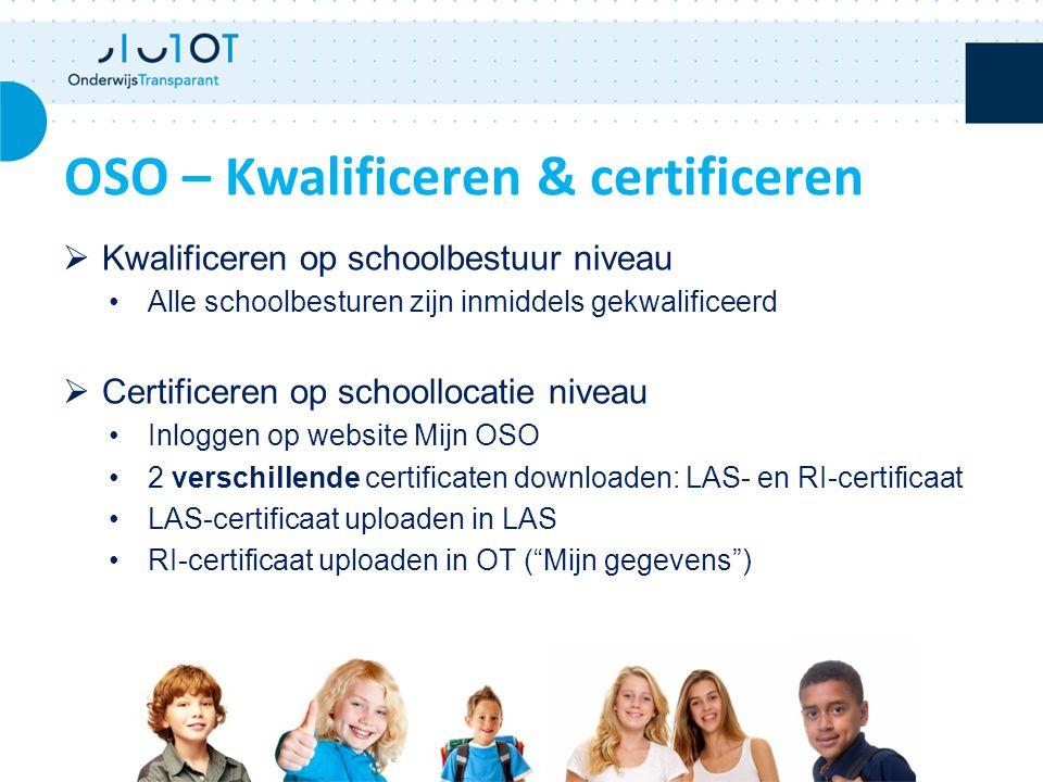  Kwalificeren op schoolbestuur niveau Alle schoolbesturen zijn inmiddels gekwalificeerd  Certificeren op schoollocatie niveau Inloggen op website Mijn OSO 2 verschillende certificaten downloaden: LAS- en RI-certificaat LAS-certificaat uploaden in LAS RI-certificaat uploaden in OT ( Mijn gegevens ) OSO – Kwalificeren & certificeren