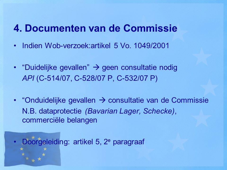 """4. Documenten van de Commissie Indien Wob-verzoek:artikel 5 Vo. 1049/2001 """"Duidelijke gevallen""""  geen consultatie nodig API (C-514/07, C-528/07 P, C-"""
