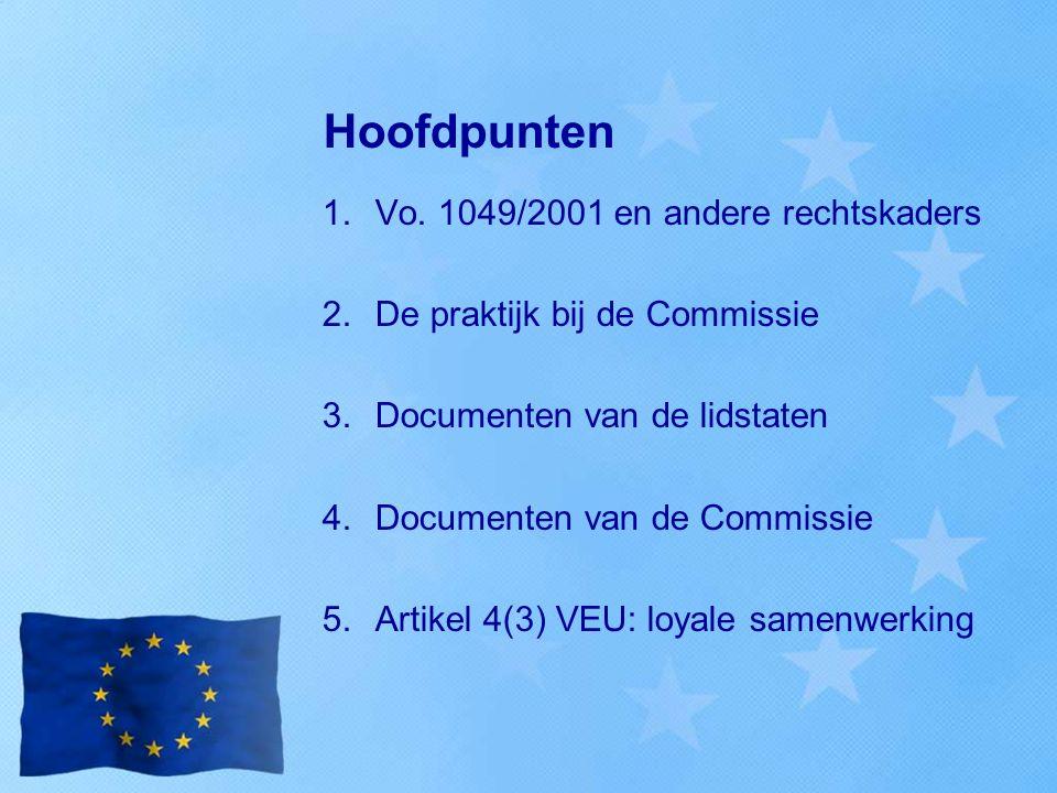 Hoofdpunten 1.Vo. 1049/2001 en andere rechtskaders 2.De praktijk bij de Commissie 3.Documenten van de lidstaten 4.Documenten van de Commissie 5.Artike