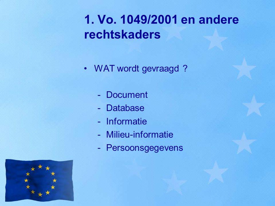 1. Vo. 1049/2001 en andere rechtskaders WAT wordt gevraagd ? -Document -Database -Informatie -Milieu-informatie -Persoonsgegevens